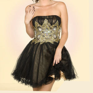 NWT Short prom dress gold & black